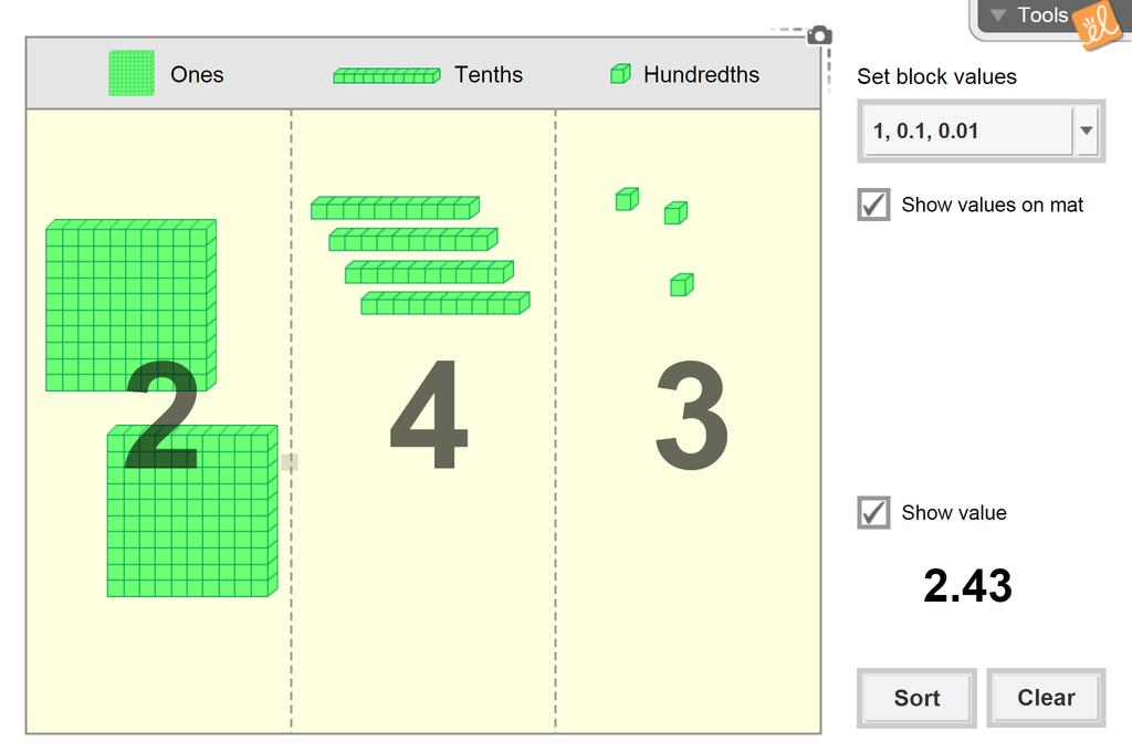 Screenshot of Modeling Whole Numbers and Decimals (Base-10 Blocks) Gizmo