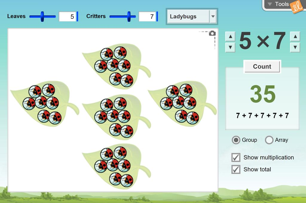 Screenshot of Critter Count (Modeling Multiplication) Gizmo