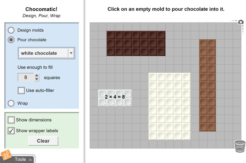 Screenshot of Chocomatic (Multiplication, Arrays, and Area) Gizmo