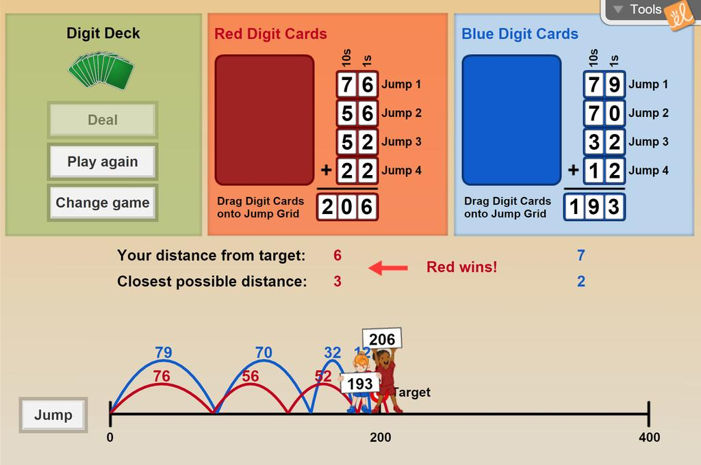 Screenshot of Target Sum Card Game (Multi-digit Addition) Gizmo