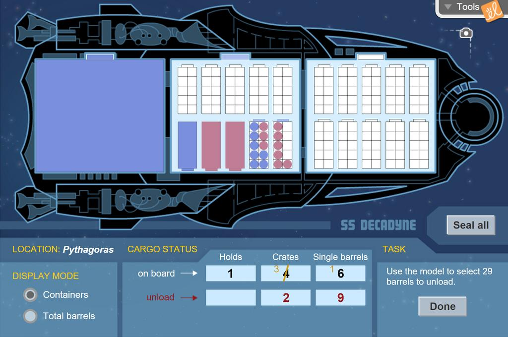 Screenshot of Cargo Captain (Multi-digit Subtraction) Gizmo