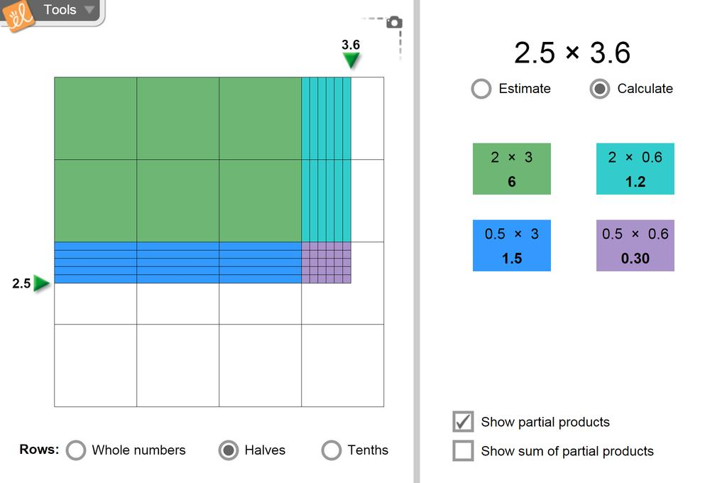 Screenshot of Multiplying Decimals (Area Model) Gizmo