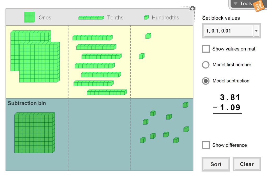 Screenshot of Subtracting Whole Numbers and Decimals (Base-10 Blocks) Gizmo