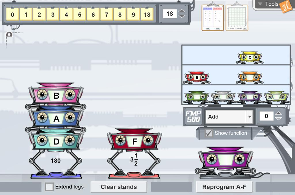 Screenshot of Function Machines 1 (Functions and Tables) Gizmo