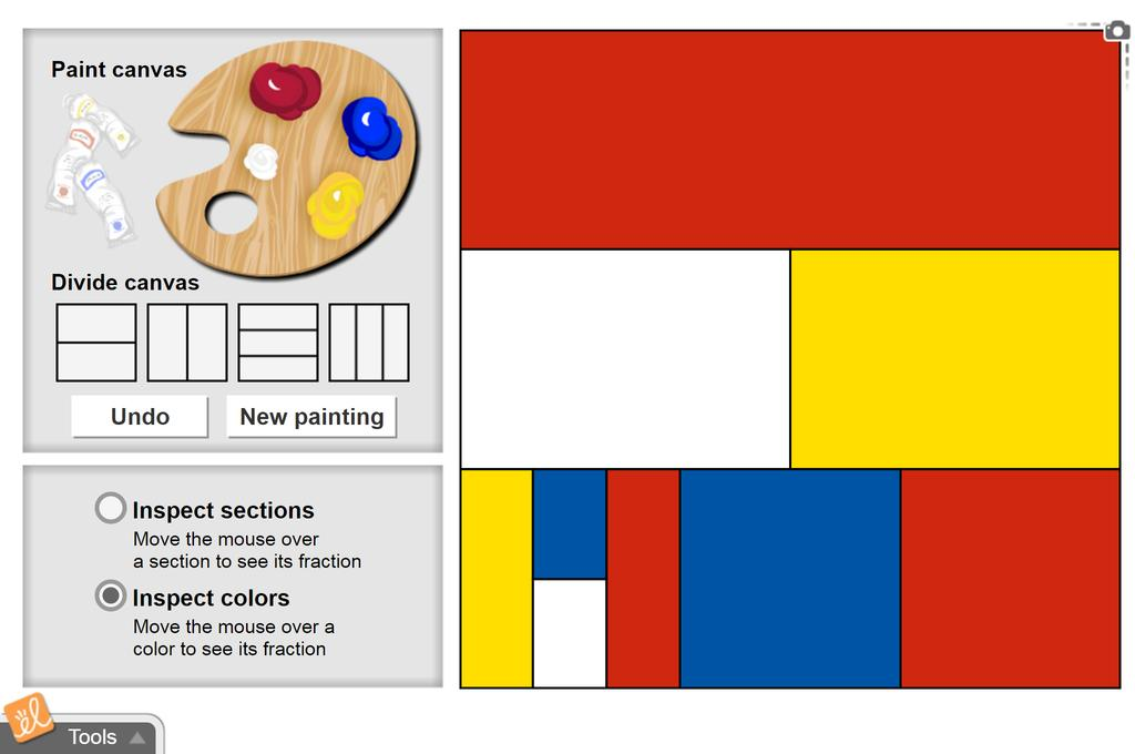 Screenshot of Fraction Artist 1 (Area Models of Fractions) Gizmo
