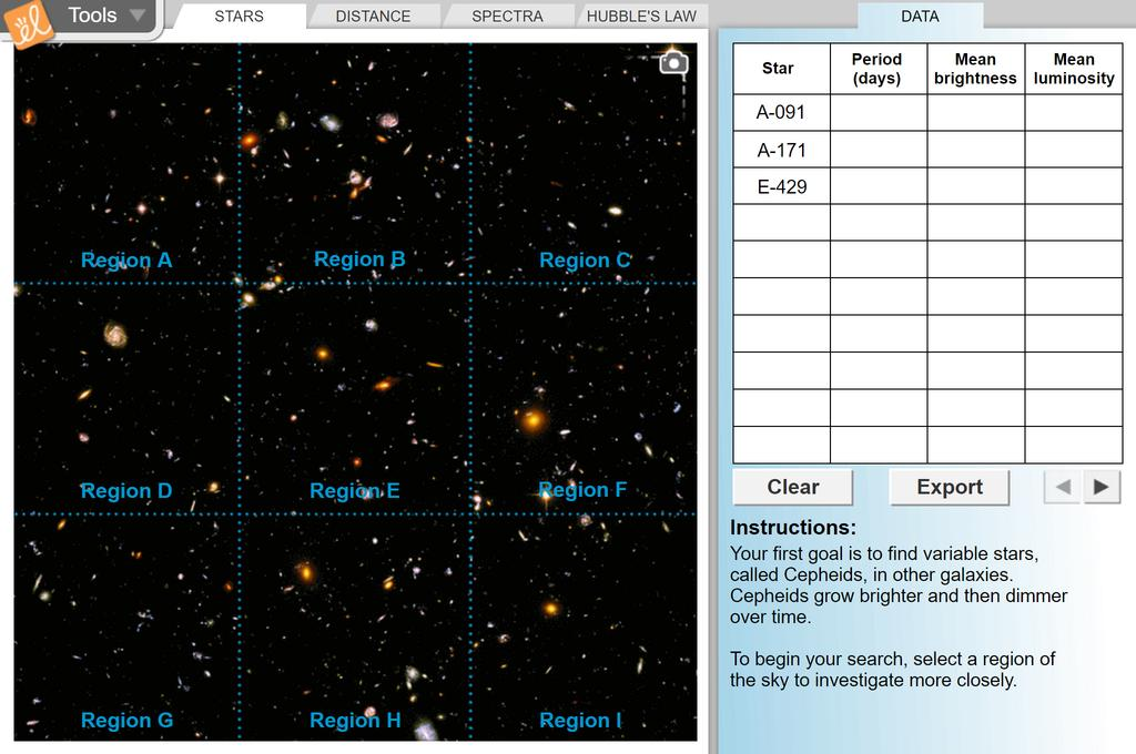 Screenshot of Big Bang Theory - Hubble's Law Gizmo