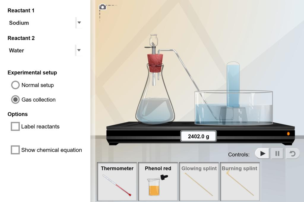 Screenshot of Chemical Changes Gizmo