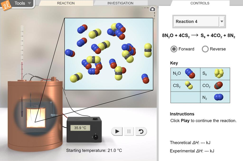 Screenshot of Reaction Energy Gizmo