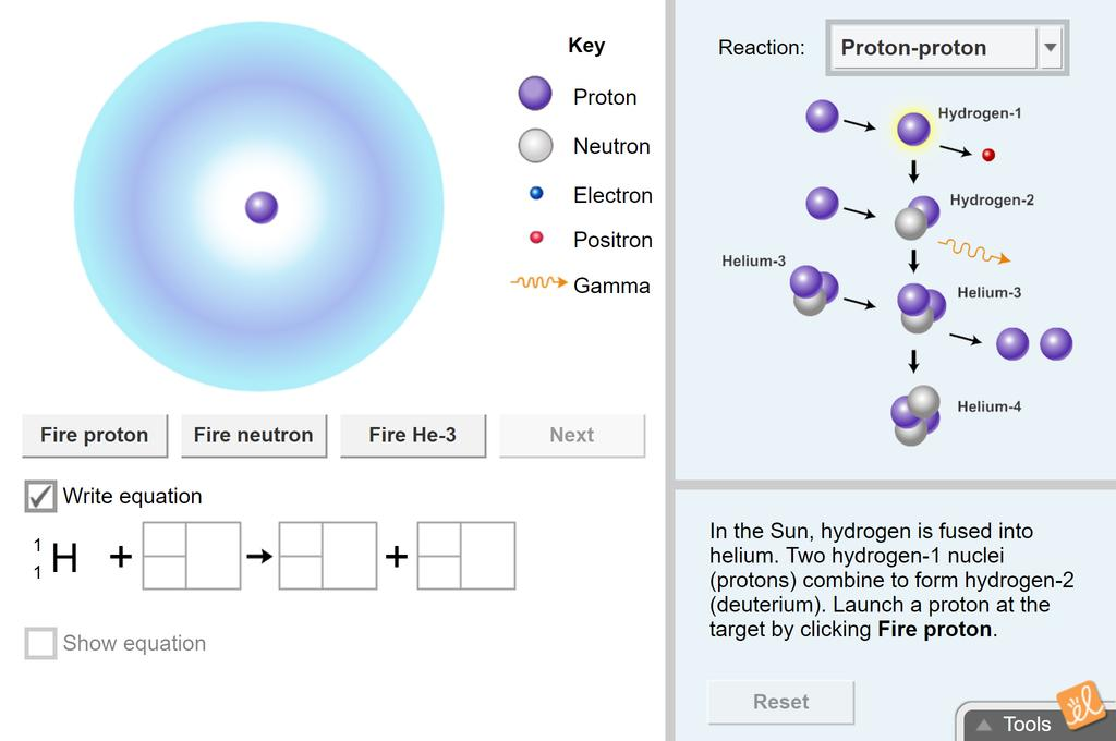 Screenshot of Nuclear Reactions Gizmo