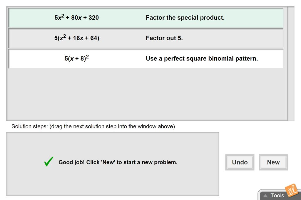 Screenshot of Factoring Special Products Gizmo