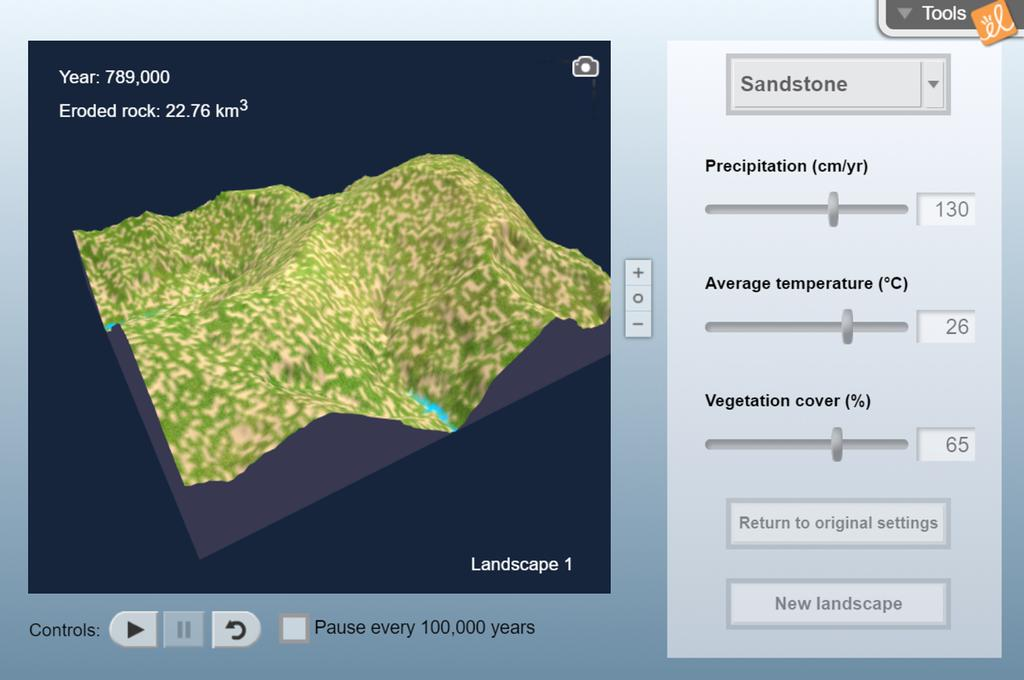 Screenshot of Erosion Rates Gizmo