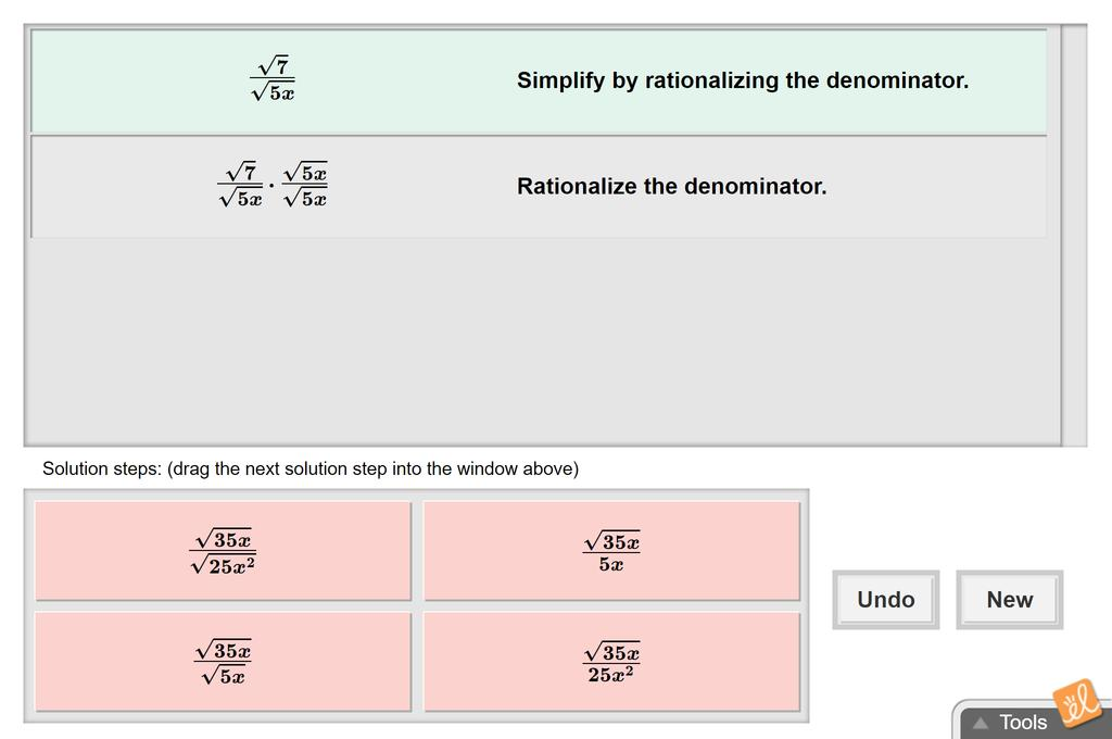 Screenshot of Simplifying Radical Expressions Gizmo