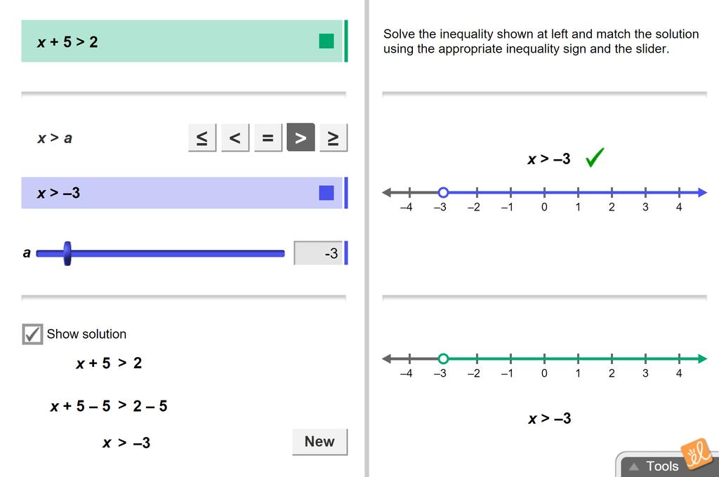 Screenshot of Solving Linear Inequalities in One Variable Gizmo