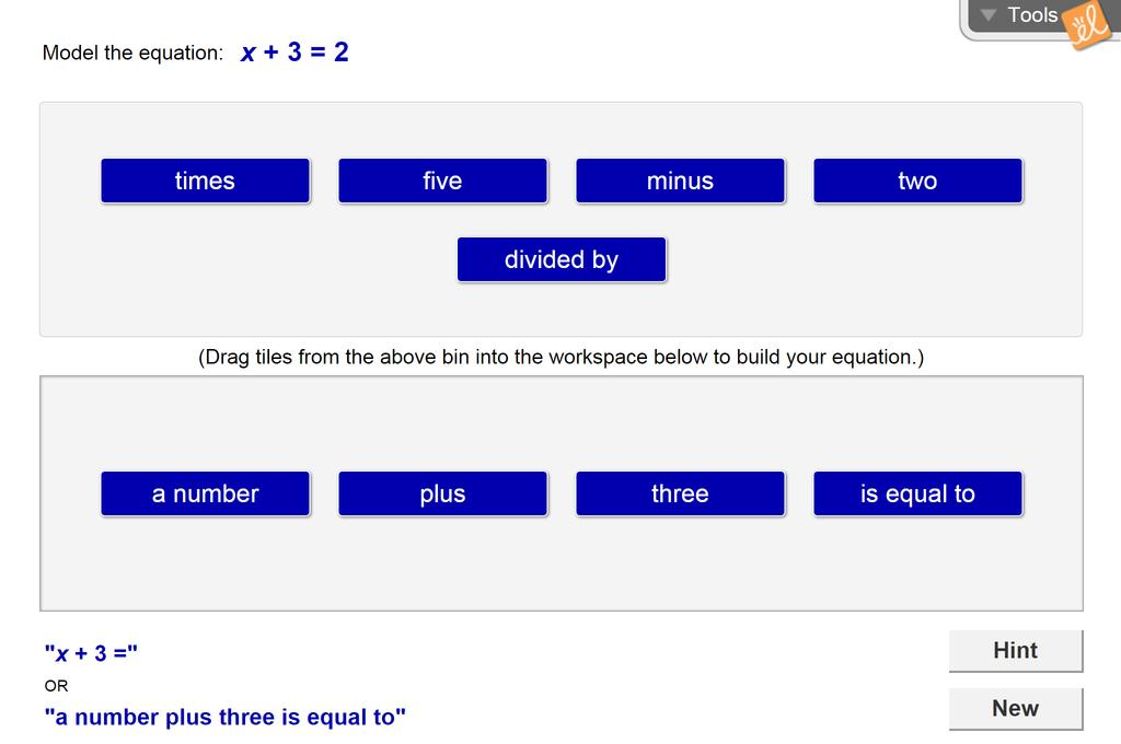 Screenshot of Using Algebraic Equations Gizmo