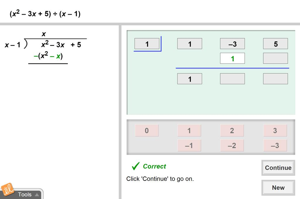 Screenshot of Dividing Polynomials Using Synthetic Division Gizmo