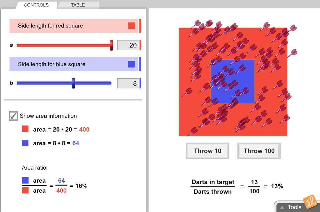 Screenshot of Geometric Probability Gizmo