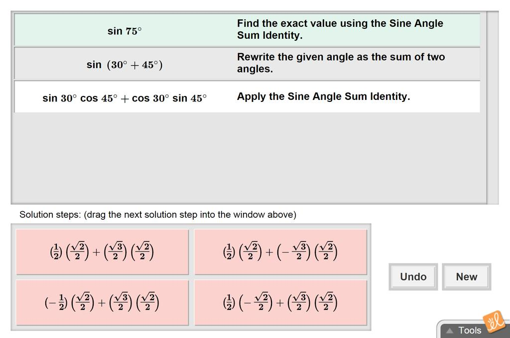 Screenshot of Sum and Difference Identities for Sine and Cosine Gizmo