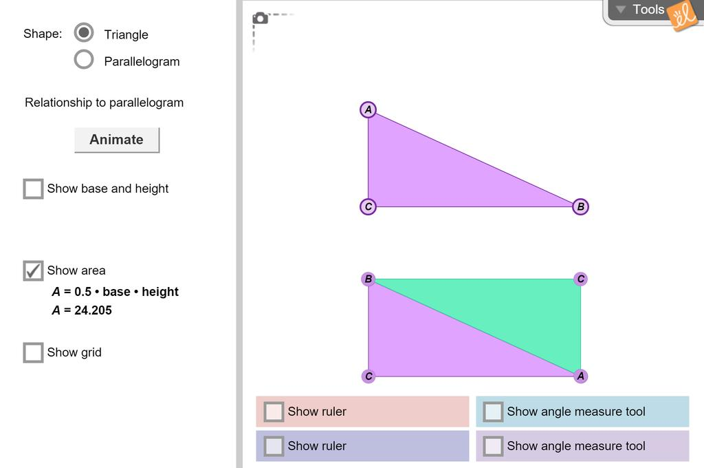 Screenshot of Area of Triangles Gizmo