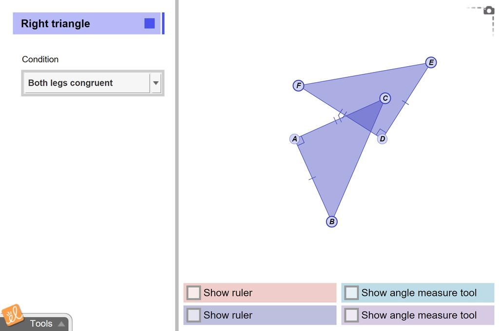 Screenshot of Congruence in Right Triangles Gizmo