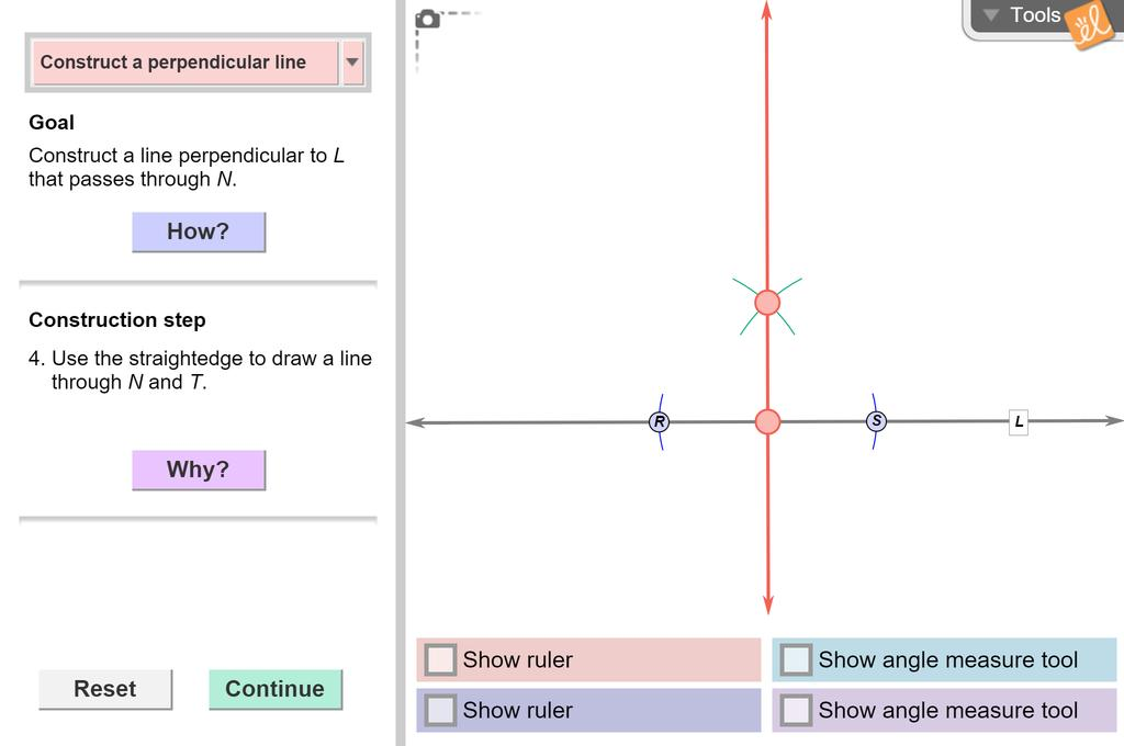 Screenshot of Constructing Parallel and Perpendicular Lines Gizmo