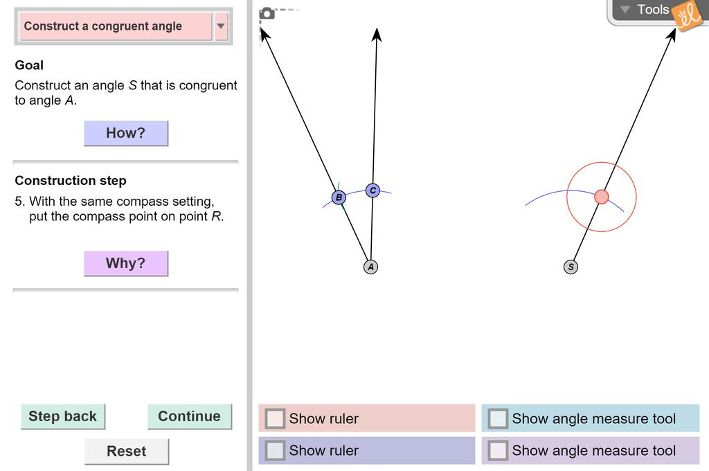 Screenshot of Constructing Congruent Segments and Angles Gizmo