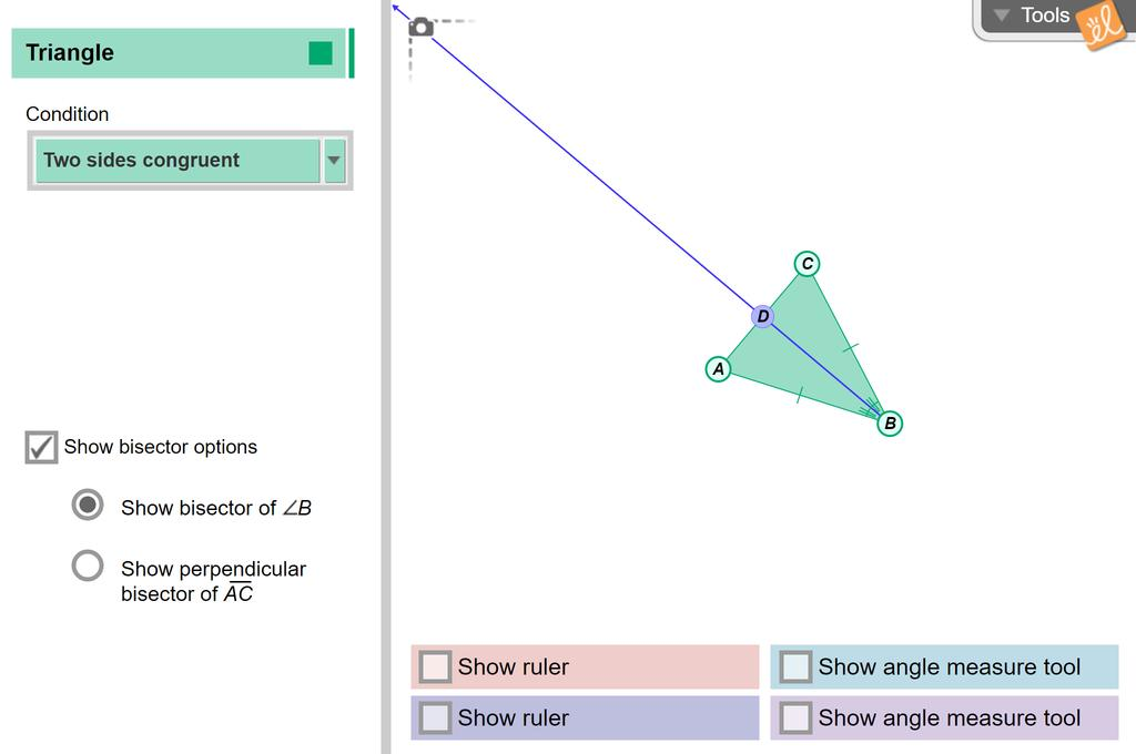 Screenshot of Isosceles and Equilateral Triangles Gizmo
