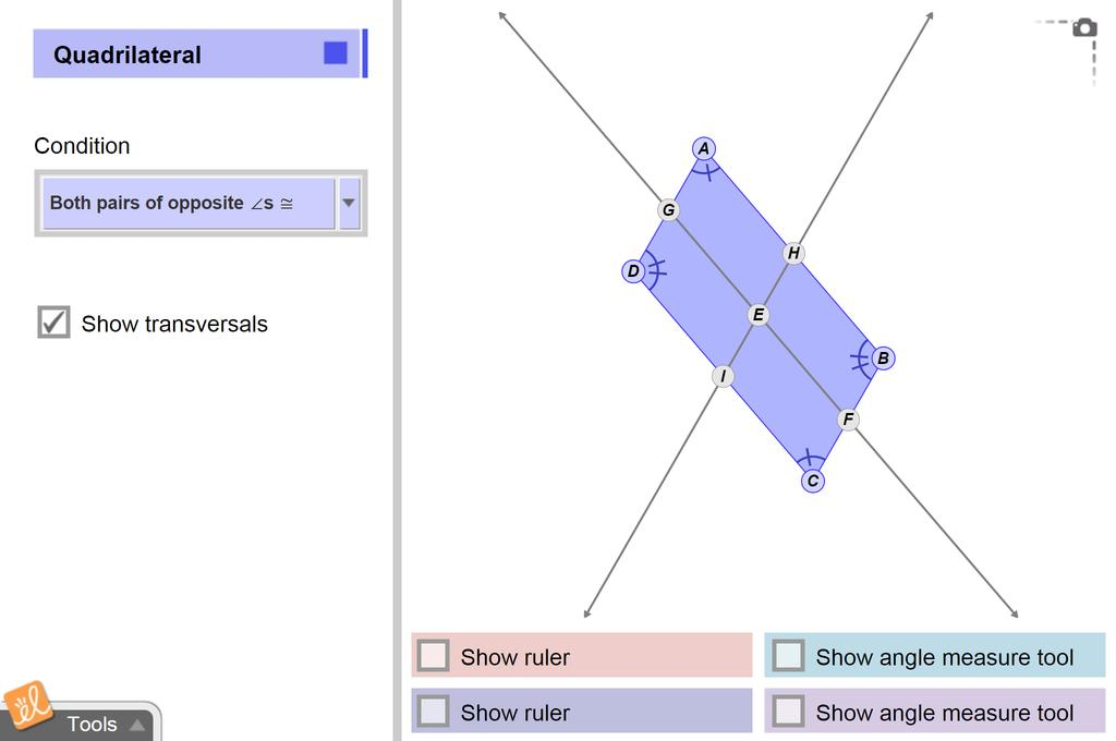 Screenshot of Parallelogram Conditions Gizmo