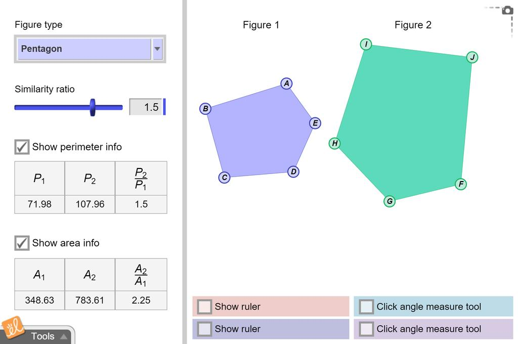Screenshot of Perimeters and Areas of Similar Figures Gizmo