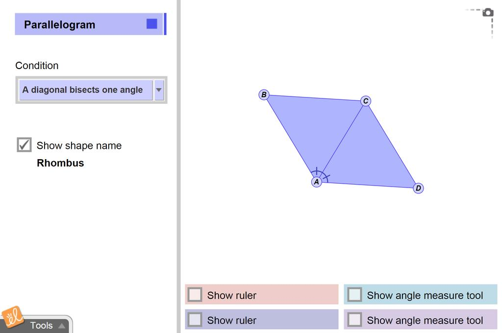 Screenshot of Special Parallelograms Gizmo