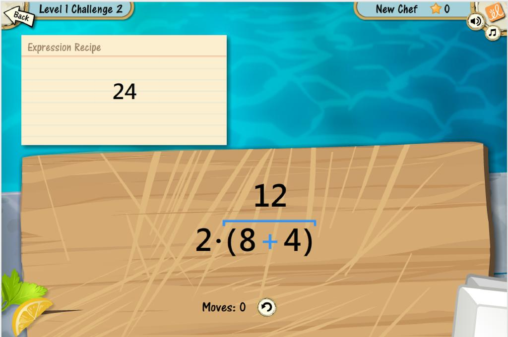 Screenshot of Equivalent Algebraic Expressions II Gizmo