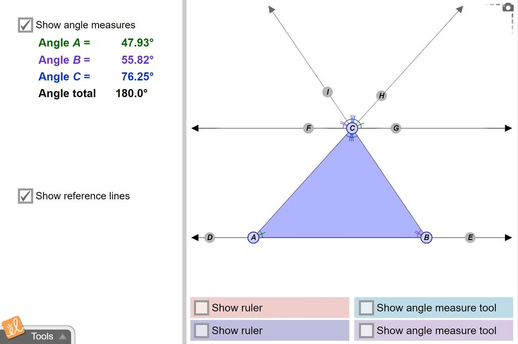 Screenshot of Triangle Angle Sum Gizmo