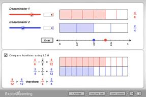 Screenshot of Comparing and Ordering Fractions Gizmo