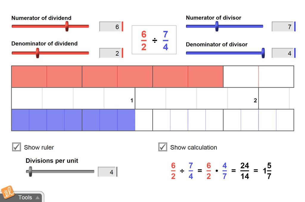 Screenshot of Dividing Fractions Gizmo