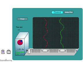 Screenshot of Driven Harmonic Motion (2 masses) Gizmo