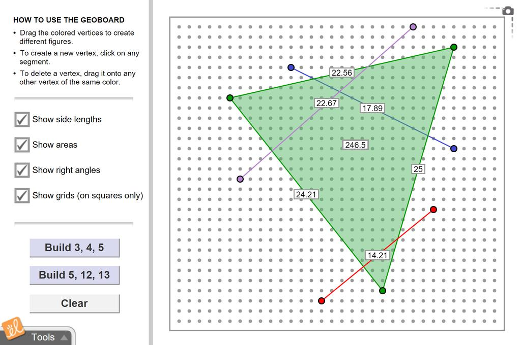 Screenshot of Pythagorean Theorem with a Geoboard Gizmo