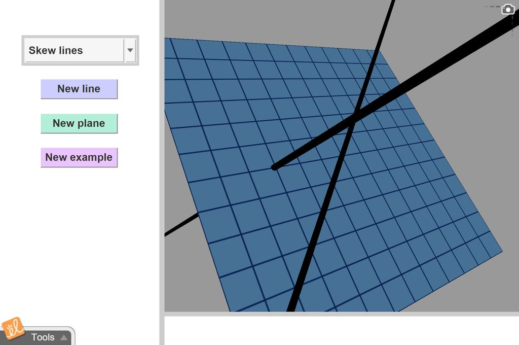 Screenshot of Parallel, Intersecting, and Skew Lines Gizmo