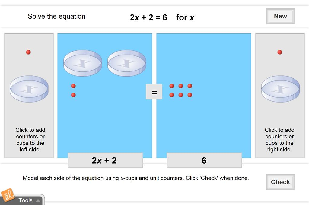 Screenshot of Modeling and Solving Two-Step Equations Gizmo