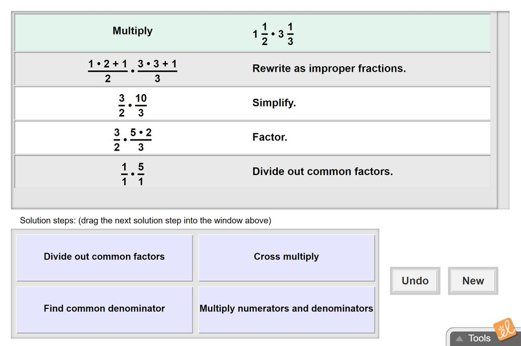 Screenshot of Multiplying Mixed Numbers Gizmo