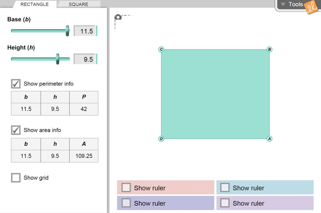 Screenshot of Perimeter and Area of Rectangles Gizmo