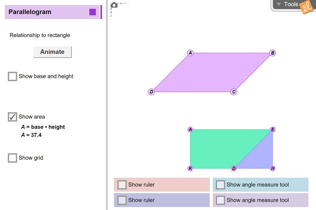 Screenshot of Area of Parallelograms Gizmo