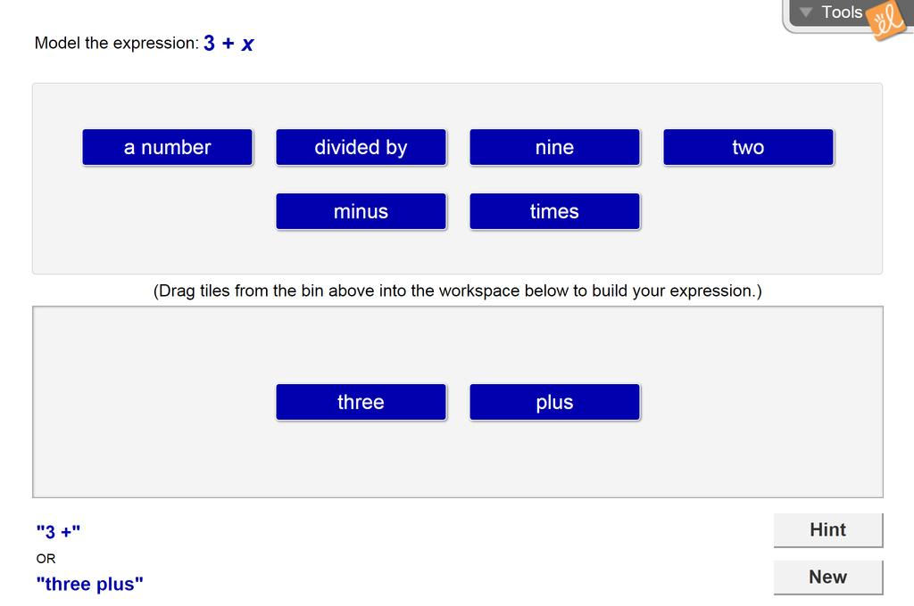 Screenshot of Using Algebraic Expressions Gizmo