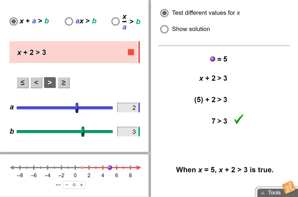Screenshot of Exploring Linear Inequalities in One Variable Gizmo