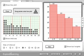 Screenshot of Exploring Data Using Histograms Gizmo