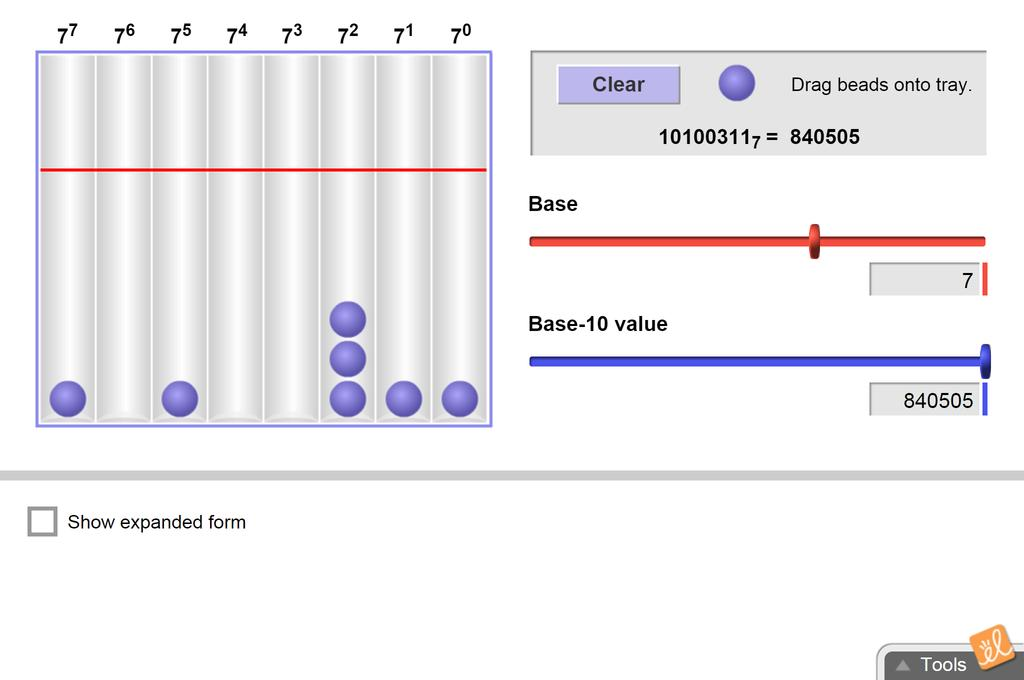 Screenshot of Number Systems Gizmo