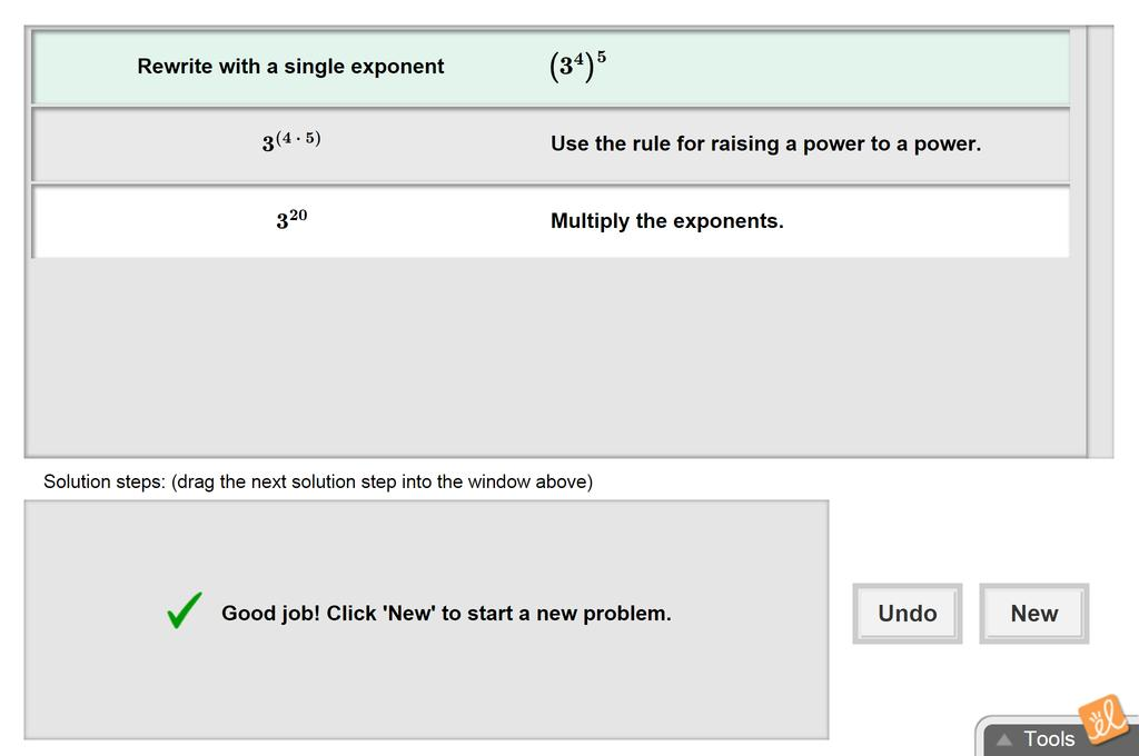 Screenshot of Exponents and Power Rules Gizmo