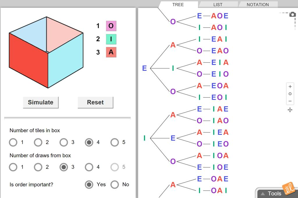 Screenshot of Permutations and Combinations Gizmo