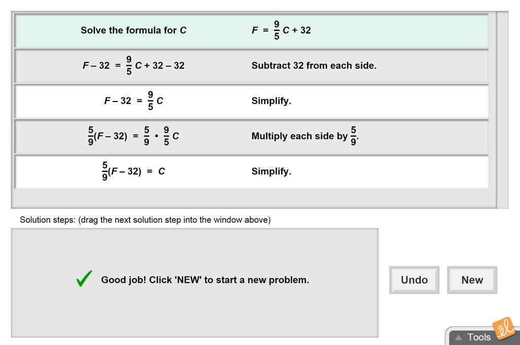 Screenshot of Solving Formulas for any Variable Gizmo