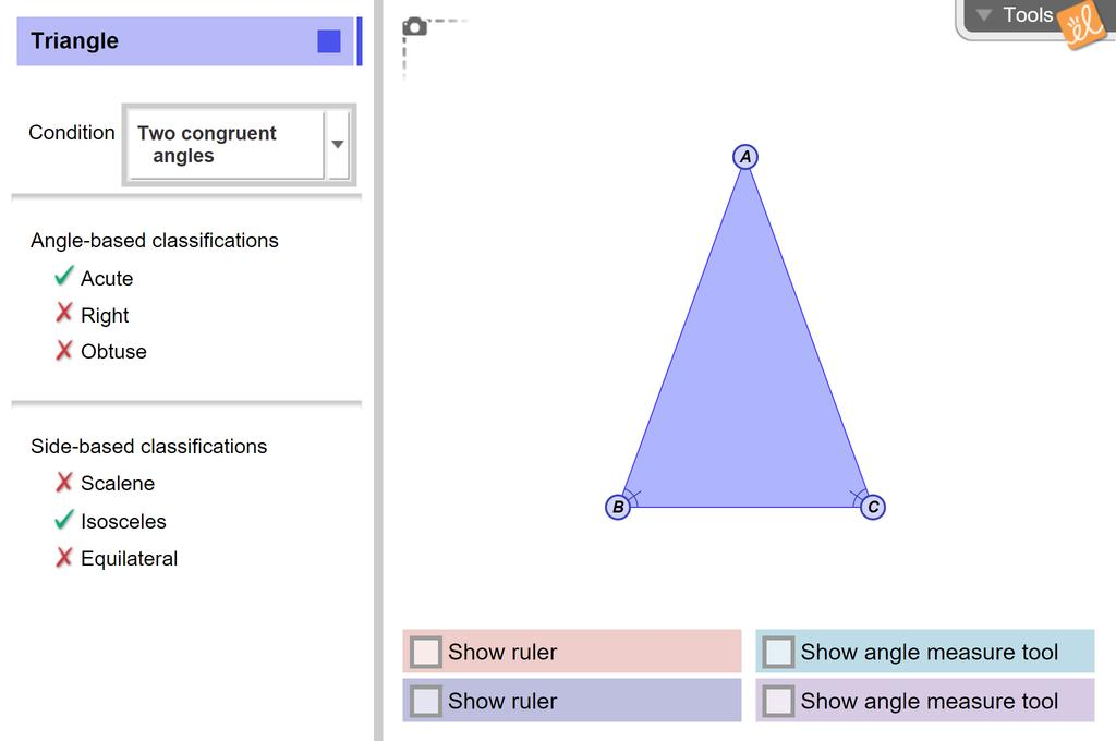 Screenshot of Classifying Triangles Gizmo