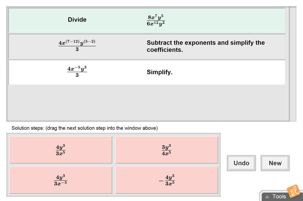 Screenshot of Dividing Exponential Expressions Gizmo