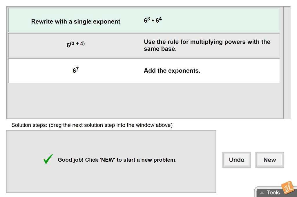 Screenshot of Multiplying Exponential Expressions Gizmo